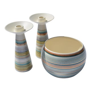 Sascha Brastoff Ceramic Candle Holders & Bowl - Set of 3 For Sale