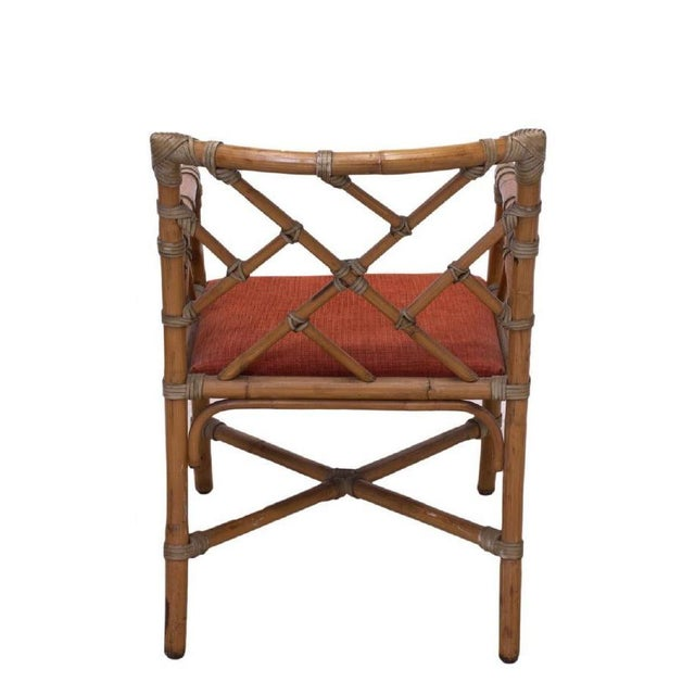 Bamboo Chippendale armchair, circa 1960, with rattan-wrapped joins, lattice back, over inset upholstered seat, rising on...