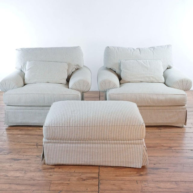 Michael Thomas Armchairs and Ottoman- 3 Pieces For Sale - Image 13 of 13