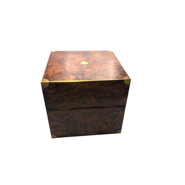 Brown Antique English Campaign Style Box For Sale - Image 8 of 9