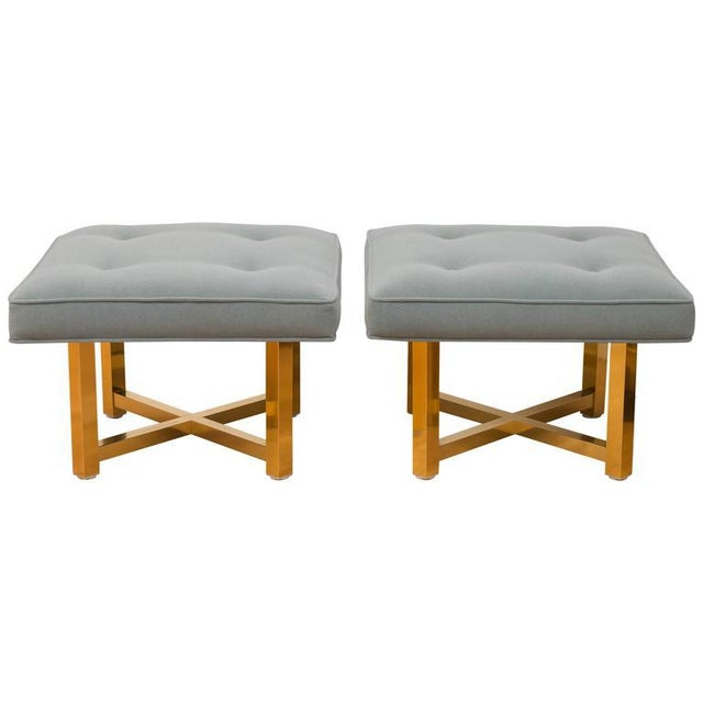 Low Brass Base Ottomans - A Pair For Sale In San Francisco - Image 6 of 6