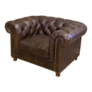 Timothy Oulton Button and Tufted Leather Chair For Sale