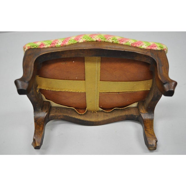 Early 20th Century Antique Louis XV Style Walnut Footstool For Sale - Image 9 of 12