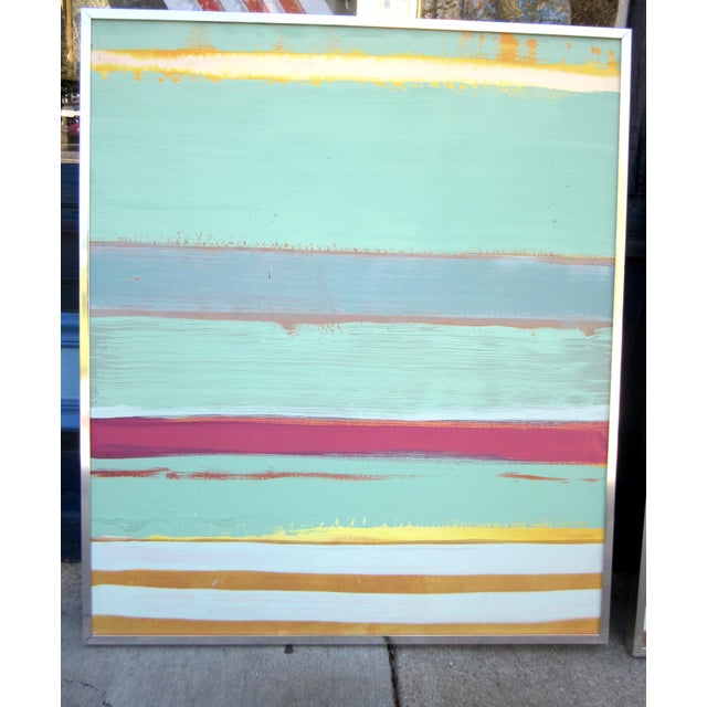 Metal 1980s Vintage Four Panel Abstract Geometric Seaside Pastel Horizontal Line Paintings - Set of 4 For Sale - Image 7 of 12