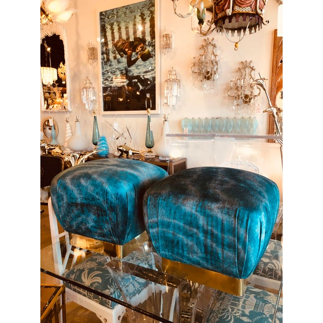 Vintage Hollywood Regency Aqua Velvet & Brass Poufs Ottomans Benches -A Pair For Sale In West Palm - Image 6 of 13