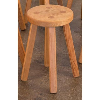 Vintage American Craft Oak Stool For Sale