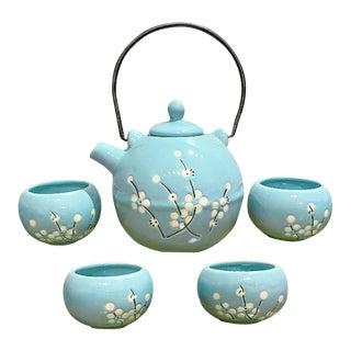 Asian Style Cyan Tea Set - 5 Piece Set For Sale