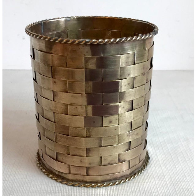 Mid-Century Modern Vintage Brass Woven Pencil Can For Sale - Image 3 of 7