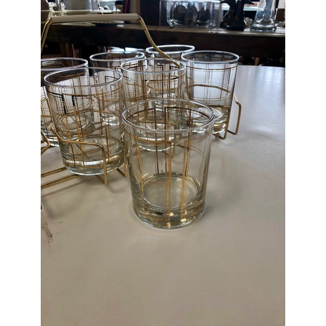 Vintage George Briard Gold Tone Rocks Glass Set With Caddy - 8 Pieces For Sale - Image 4 of 7