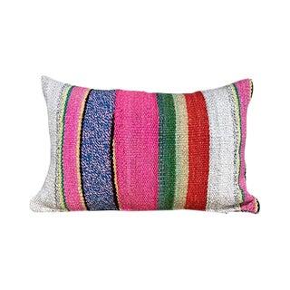 Kim Salmela Boho Chic Peruvian Striped Kilim Lumbar Pillow For Sale