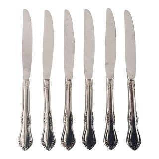 Floral Stainless Dinner Knives - Set of 6 For Sale