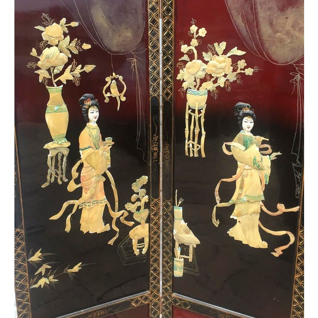 Asian Lacquered Mother of Pearl Screen. 4 panels. Mother of Pearl Figures. This amazing screen was purchased many years...