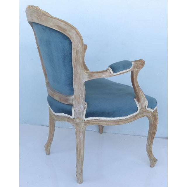Textile French Limed Louis XV Style Fauteuil Chairs With Velvet Mohair Seats With Trim For Sale - Image 7 of 13