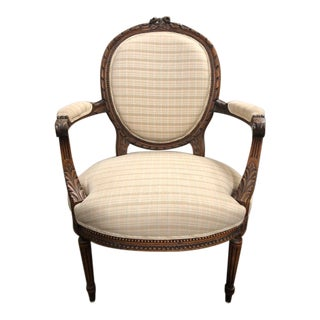 Newly Upholstered Carved French Bergere For Sale