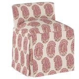 Image of Skirted Vanity Stool, Block Paisley Rosequartz Oga For Sale