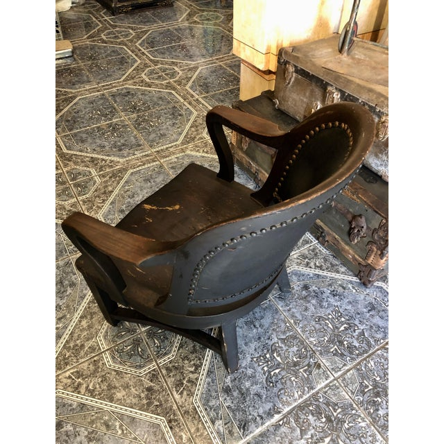 1940s Vintage Stout and Wide Wood and Leather Studded Bowed Back Reading Chair For Sale - Image 11 of 12