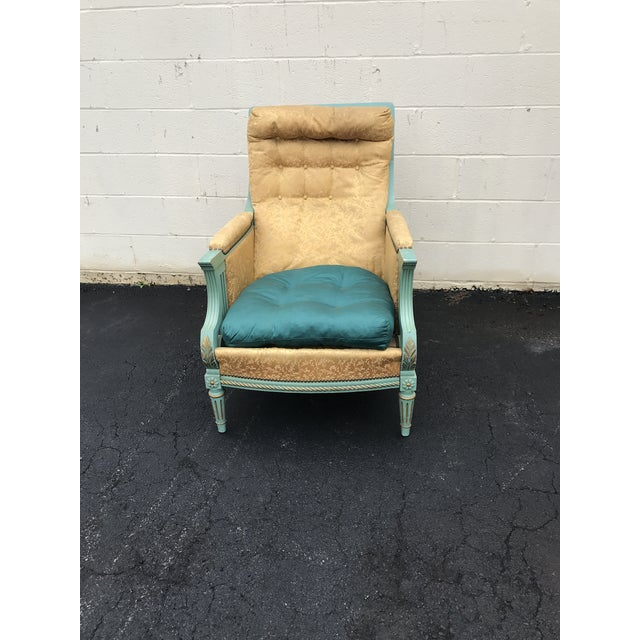 Green Antique Victorian Turquoise and Gold Upholstered Chair For Sale - Image 8 of 8