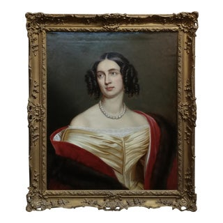 "1840s After Joseph Karl Stieler ""Portrait of Queen Elisabeth of Prussia"" Oil Painting For Sale"