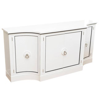 1940s Hollywood Regency Grosfeld House White Lacquered and Nickel Silver Cabinet For Sale