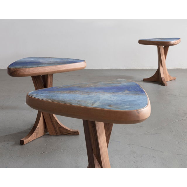 """2010s """"Lewis"""" Stool With Handmade Walnut Frame and Handmade Ceramic Detail For Sale - Image 5 of 6"""