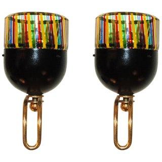 Italian Rainbow Murano Glass Sconces by Leucos - a Pair For Sale