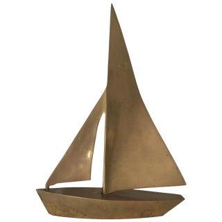 MCM Vintage Brass Sailboat