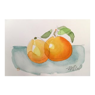 Still Life Orange Orange, Original Watercolor Painting
