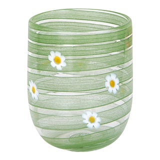 LagunaB Green Daisy Handmade Murano Glass Tumbler For Sale