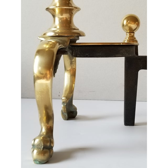 Mid-Century English Style Large Brass Andirons-A Pair For Sale - Image 10 of 13