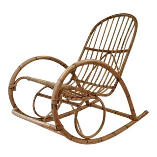 Vintage Bent Bamboo Rocking Chair Franco Albini Style Rocker With Foot Rest For Sale