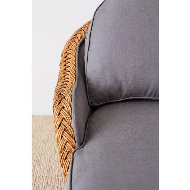 Michael Taylor Style Wicker Chaise Lounge For Sale In San Francisco - Image 6 of 13