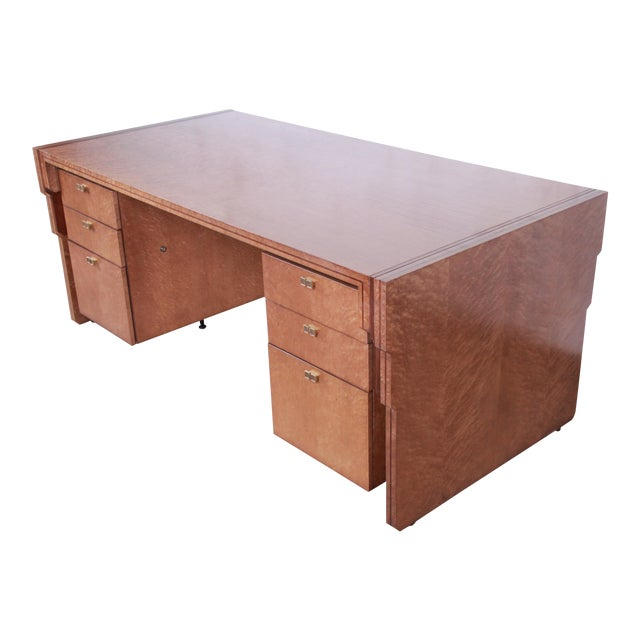 Pierre Paulin for Baker Furniture Bird's-Eye Maple and Walnut Inlay Art Deco Executive Desk For Sale