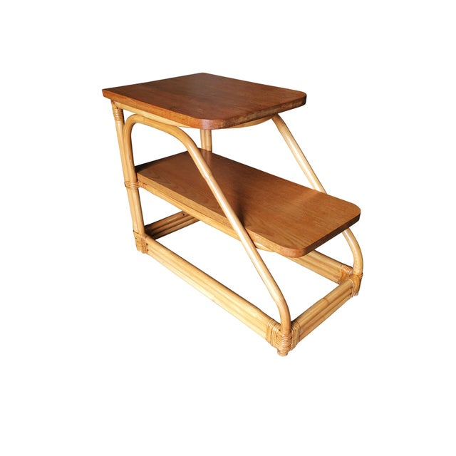 1950s Restored Rattan Side Table With Two-Tier Mahogany Tops - a Pair For Sale - Image 5 of 9
