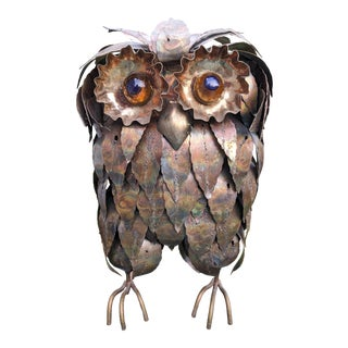 Mid Century Modern C. Jere Style Owl Sculpture For Sale