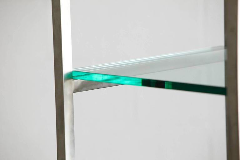 world class modern brushed aluminium tag re or display with five rh decaso com 1 thick glass shelves thick glass floating shelves