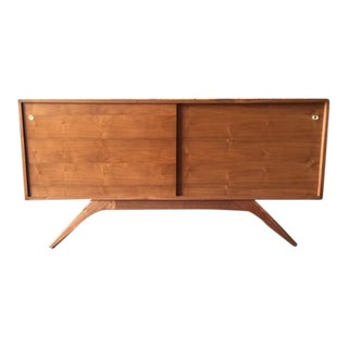 Mid Century Style Custom Walnut Sculpted Base Credenza For Sale