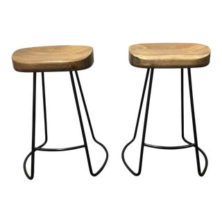 Wood + Metal Counter Stools - a Pair For Sale