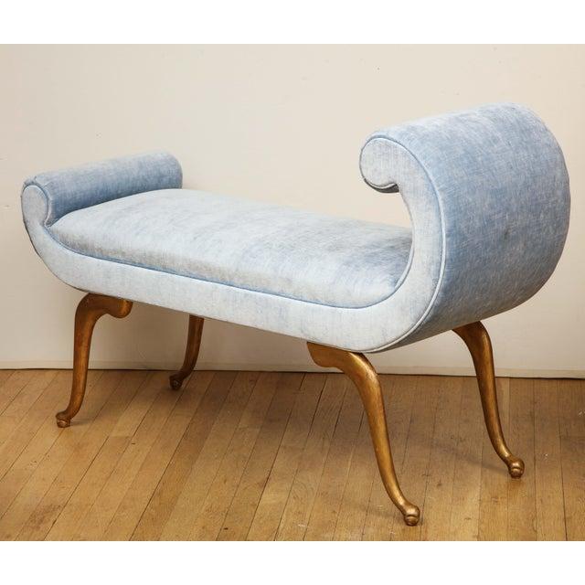 Italian Italian Giltwood Bench in Blue Velvet For Sale - Image 3 of 13
