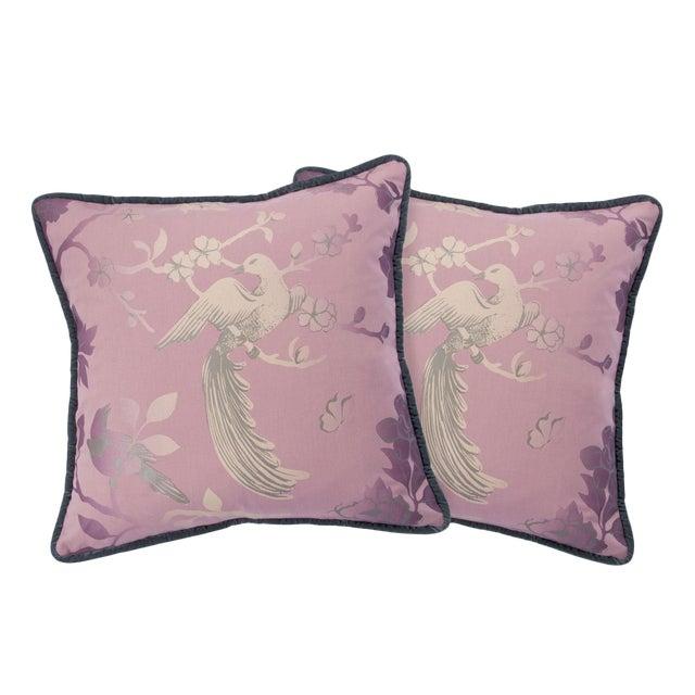 BirdSong Blush Pink Pillows - A Pair For Sale
