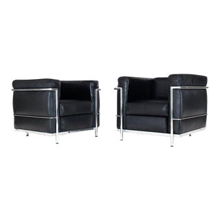 1980s Vintage Alivar Lc2 for Le Corbusier Club Lounge Chairs- a Pair For Sale