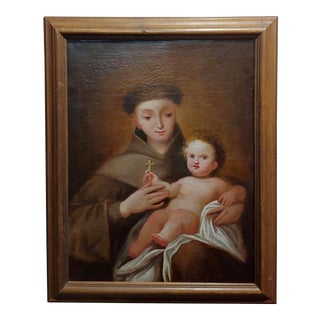 San Francis d'Assisi W/The Christ Child-17th Century Italian Oil Painting For Sale