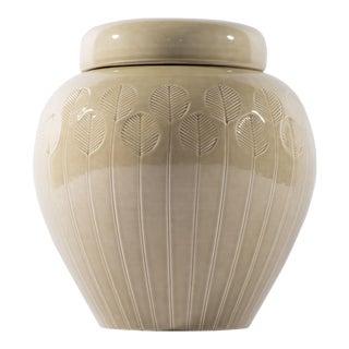 Bitossi for Raymor Italian Impressed Leaf Beige Lidded Urn For Sale