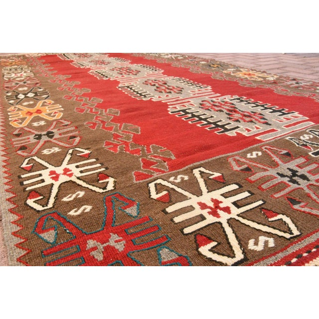 9x4 Ft Antique Turkish Traditional Kilim Rug Oushak Geometric Design Red Color Kilim Oriental Tribal Wool Kilim Rug For Sale In San Francisco - Image 6 of 6