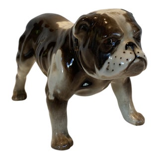 Vintage Ceramic Bull Dog Figure For Sale