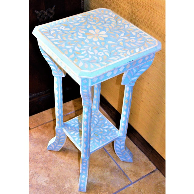 Indian Bone Inlay Side Table - Image 2 of 10