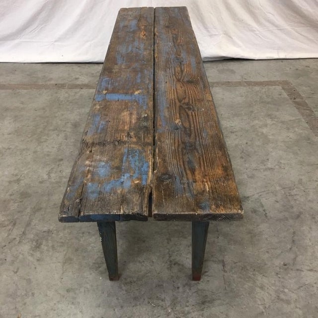 Very handsome french antique rustic painted long bench, c. 1850, In excellent antique condition. This bench is all...