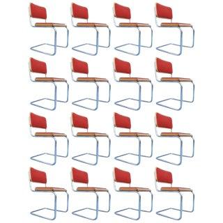 "Set of 17 Orange Marcel Breuer ""Cesca"" Chairs For Sale"