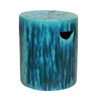 Chinese Ceramic Clay Turquoise Green Glaze Round Garden Stool cs2841 For Sale