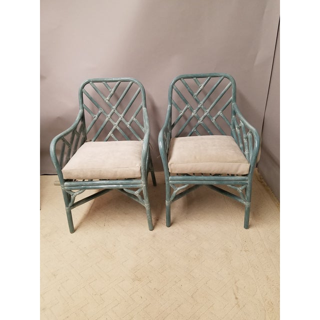 1970s Pale Aqua Chinese Chippendale Rattan Armchairs - a Pair For Sale - Image 5 of 5