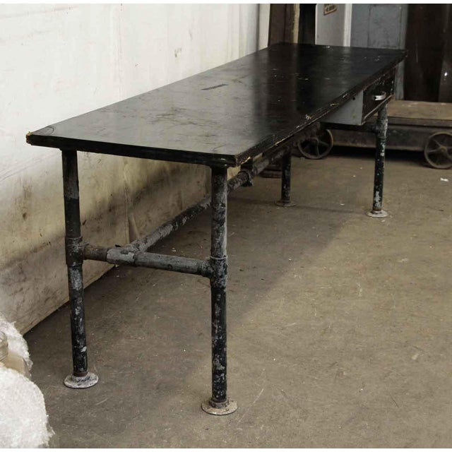 Wood Top Black Metal Work Table For Sale - Image 9 of 10